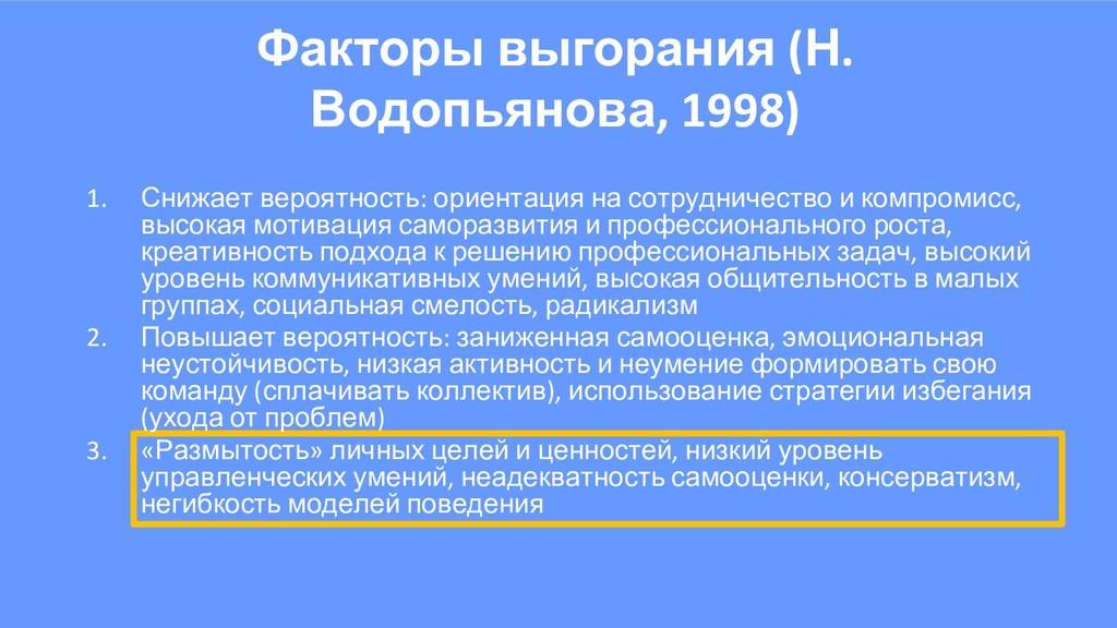 Факторы выгорания (Н. Водопьянова, 1998) 1. Сни...