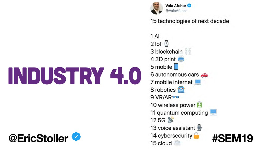 Industry 4.0 @EricStoller #SEM19
