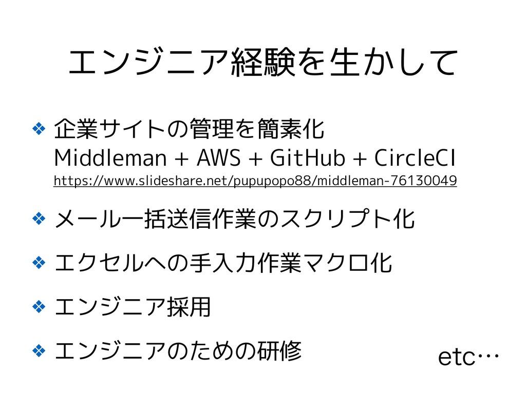 ❖ 企業サイトの管理を簡素化 Middleman + AWS + GitHub + Circ...