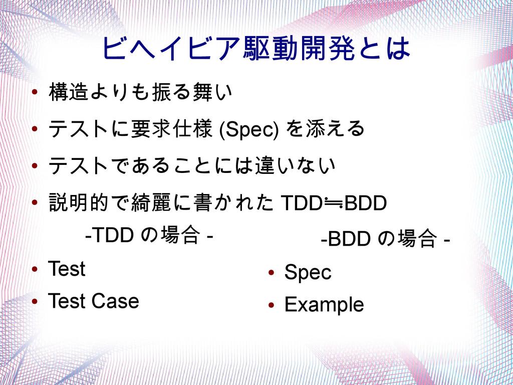 ビヘイビア駆動開発とは -TDD の場合 - ● Test ● Test Case -BDD ...