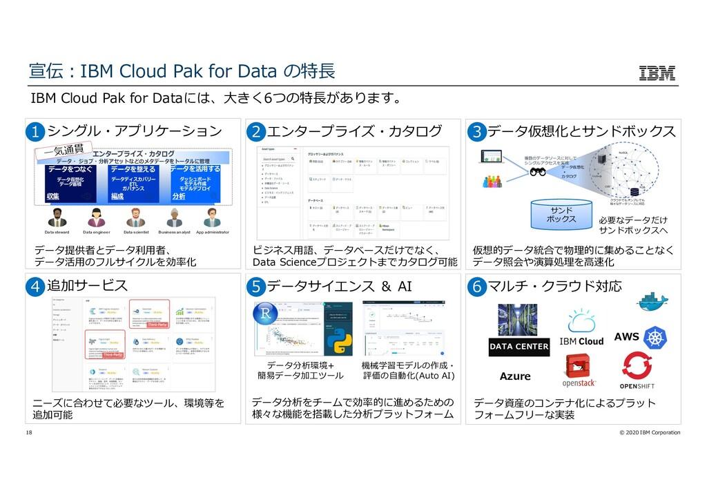 © 2020 IBM Corporation 18 IBM Cloud Pak for Dat...