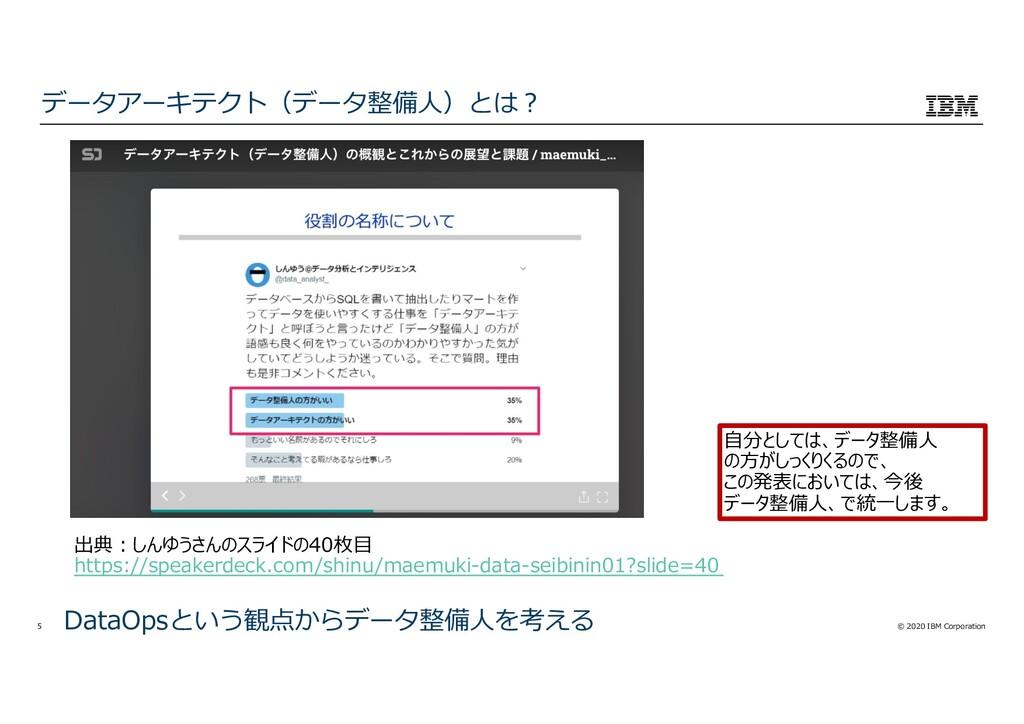 © 2020 IBM Corporation 5 データアーキテクト(データ整備⼈)とは︖ D...
