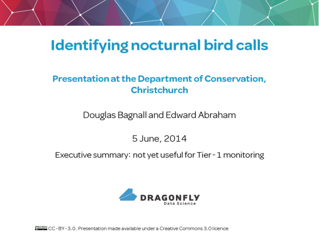 Identifying nocturnal bird calls Presentation a...