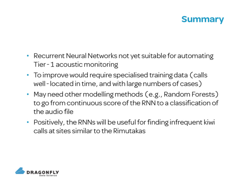 Summary Recurrent Neural Networks not yet suita...