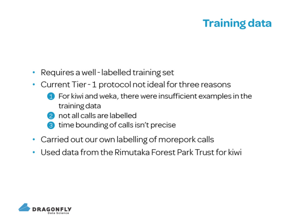 Training data Requires a well labelled training...