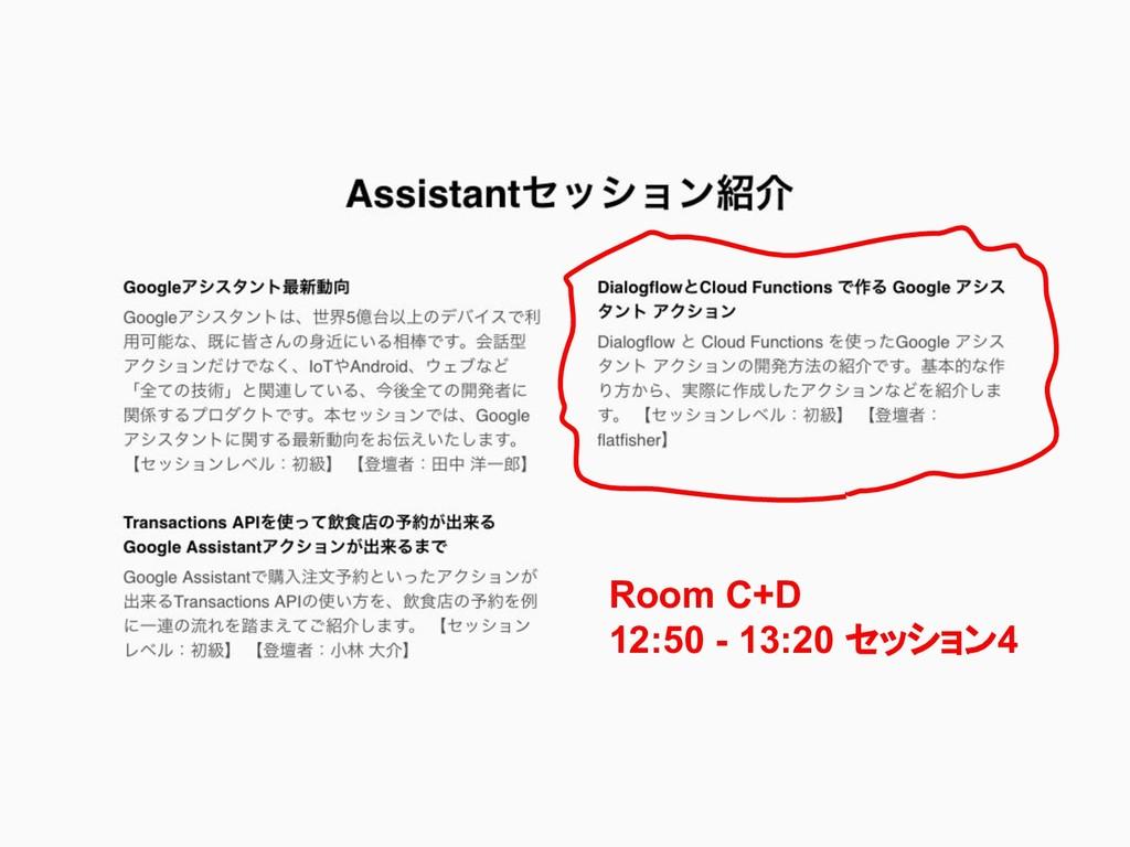 Room C+D 12:50 - 13:20 セッション4