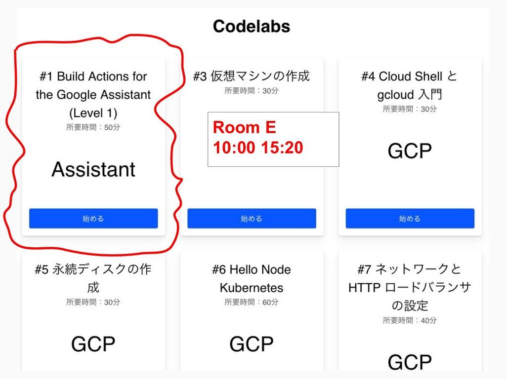Room E 10:00 15:20