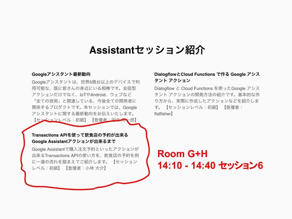 Room G+H 14:10 - 14:40 セッション6