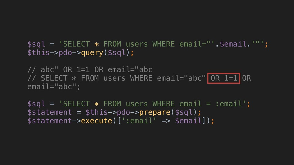 "$sql = 'SELECT * FROM users WHERE email=""'.$ema..."