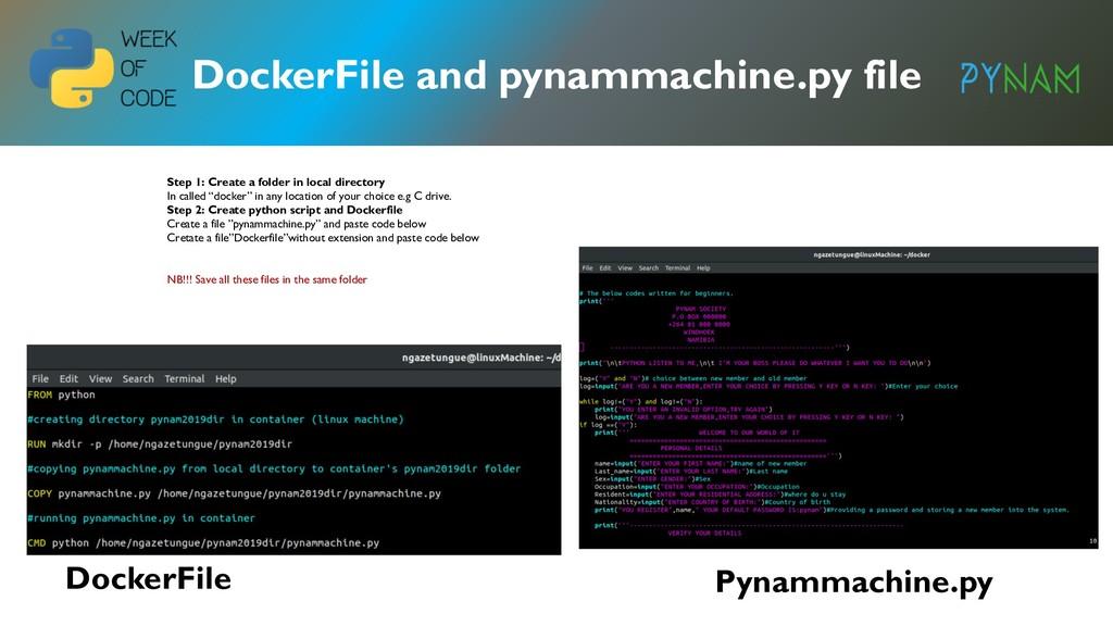 NAMIBIA DockerFile and pynammachine.py file Doc...
