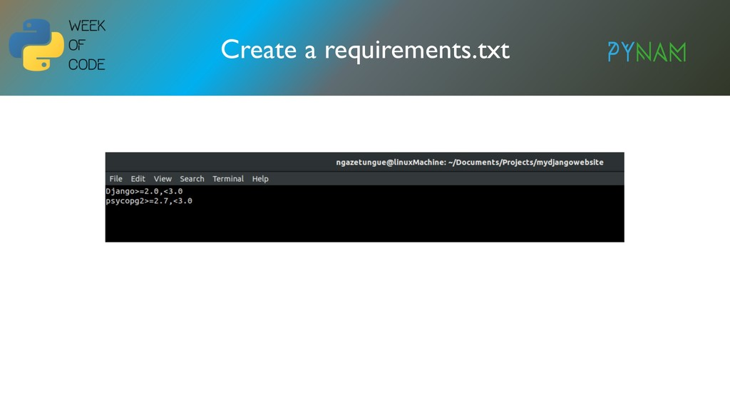 NAMIBIA Create a requirements.txt