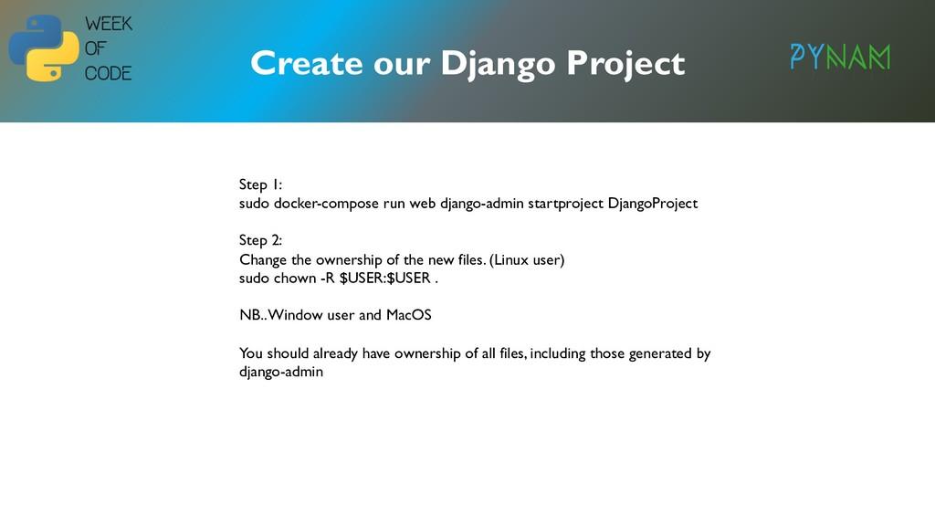 NAMIBIA Create our Django Project Step 1: sudo ...