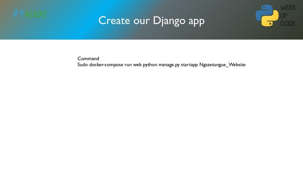 NAMIBIA Create our Django app Command Sudo dock...