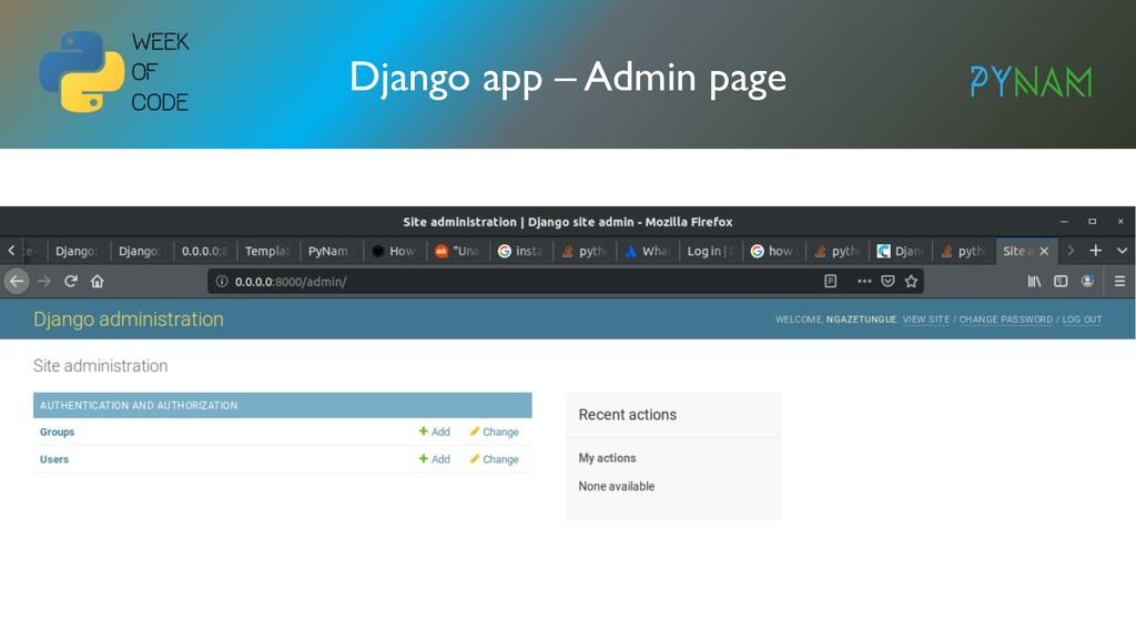 NAMIBIA Django app – Admin page