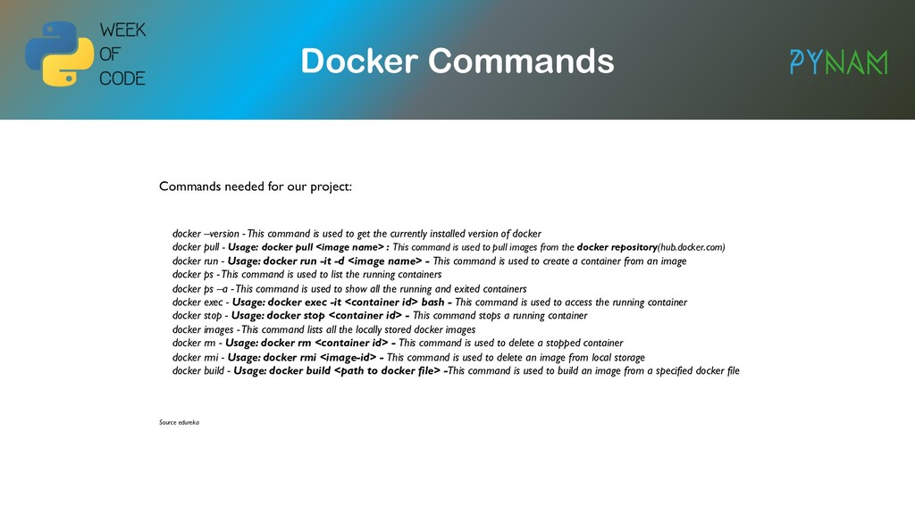 NAMIBIA Docker Commands Commands needed for our...