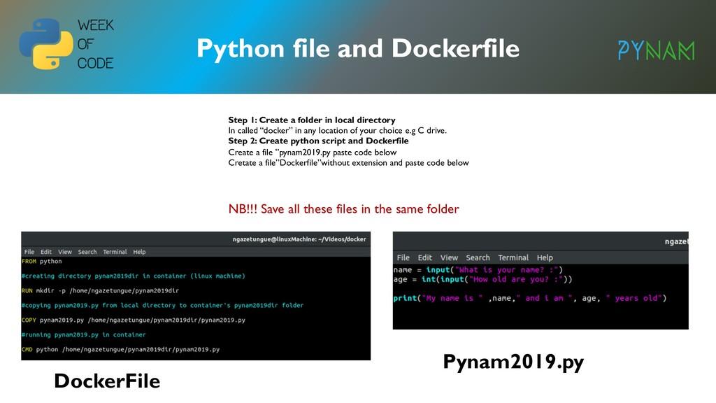 Python file and Dockerfile DockerFile Pynam2019...