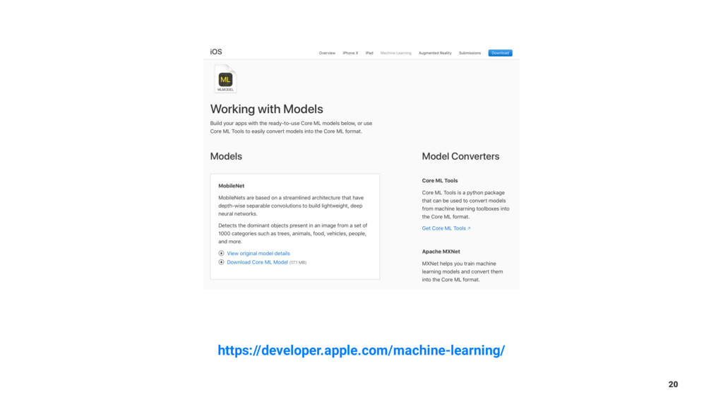 https://developer.apple.com/machine-learning/ 20