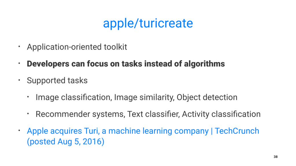 apple/turicreate • Application-oriented toolkit...