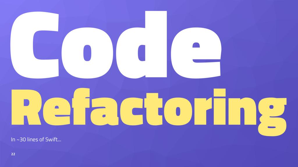 Code Refactoring In ~30 lines of Swift... 22