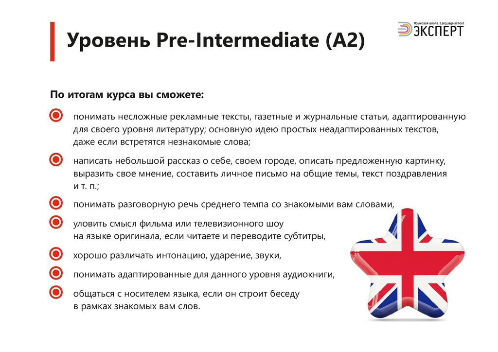 Уровень Pre-Intermediate (A2) Языковая школа. L...