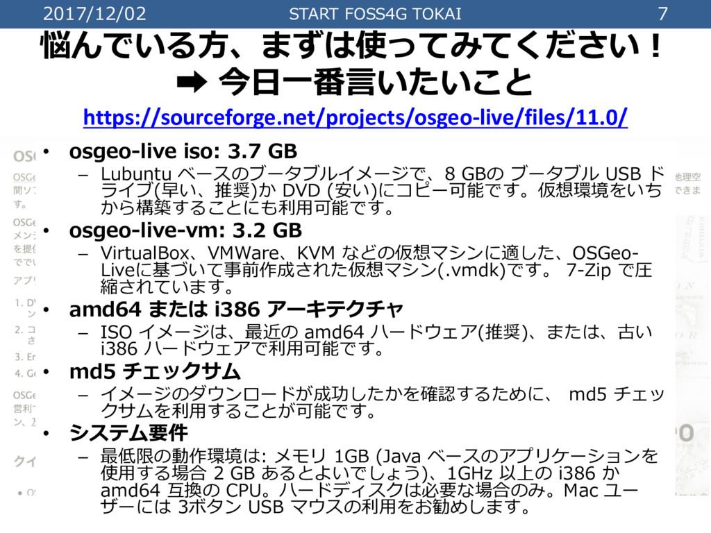 2017/12/02 START FOSS4G TOKAI 7 悩んでいる⽅、まずは使ってみて...