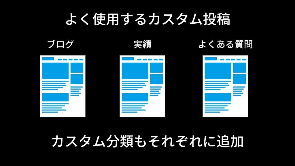 よく使⽤するカスタム投稿 ブログ 実績 よくある質問 カスタム分類もそれぞれに追加