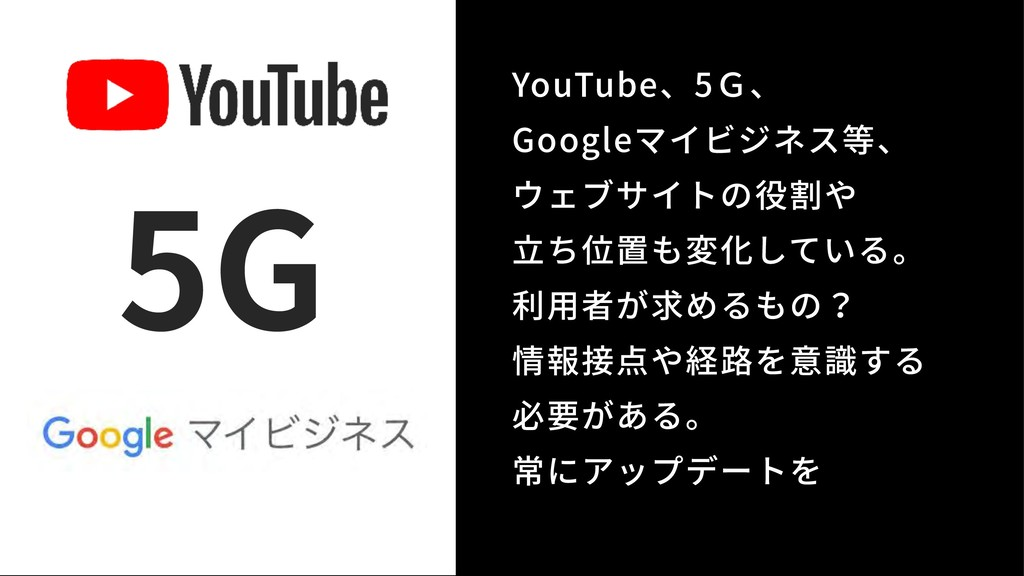 YouTube、5G、 Googleマイビジネス等、 ウェブサイトの役割や ⽴ち位置も変化...