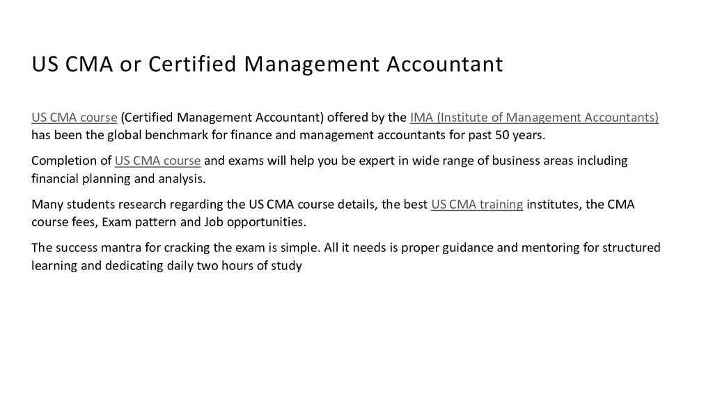 US CMA or Certified Management Accountant US CM...