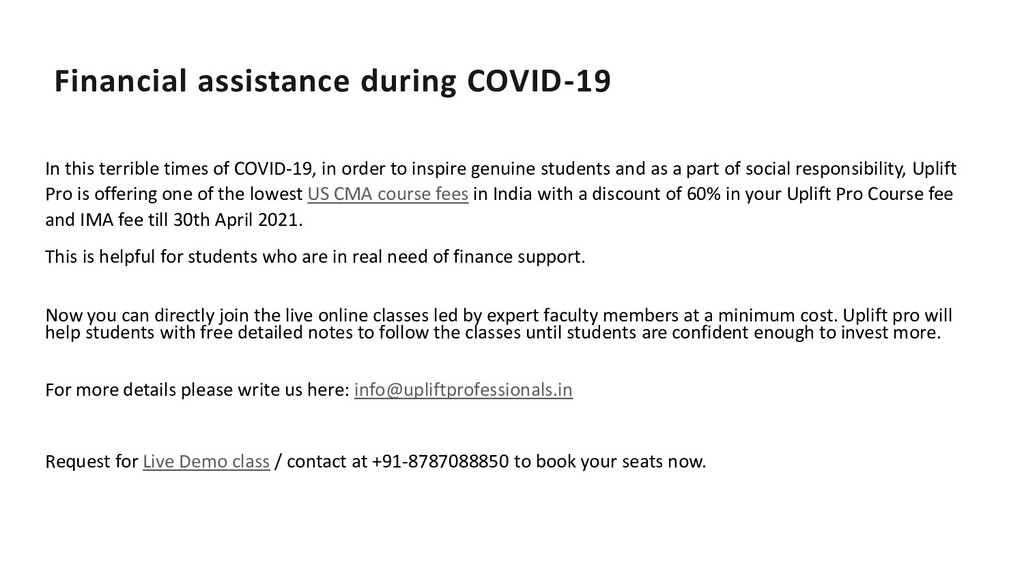 Financial assistance during COVID-19 In this te...