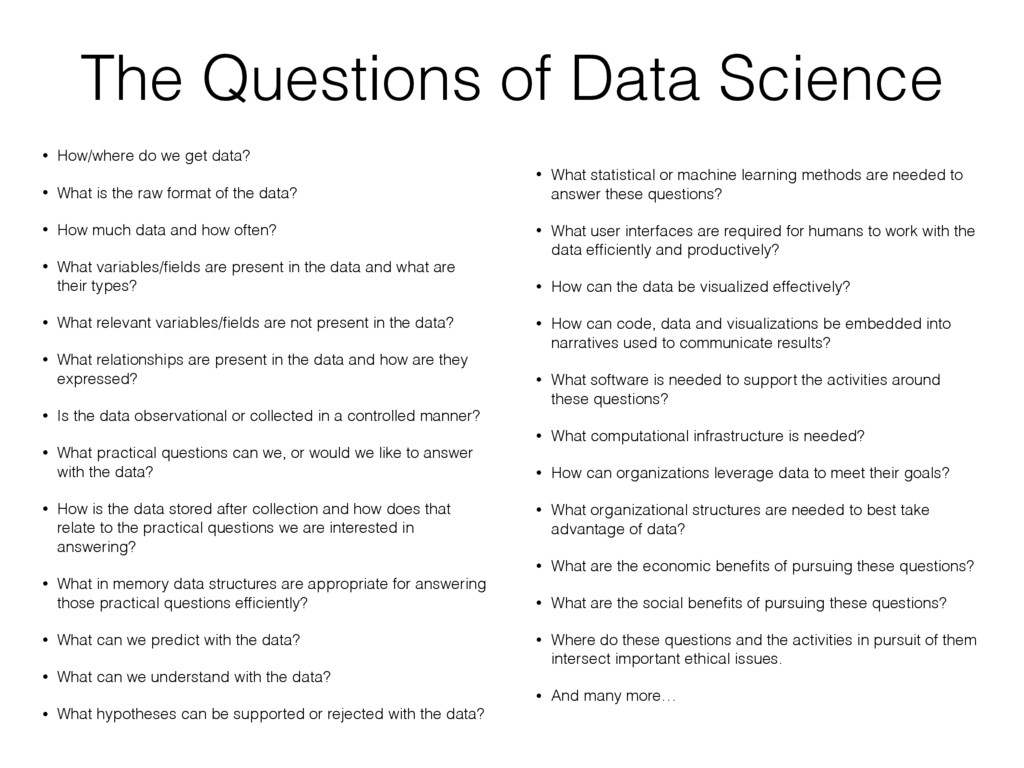 The Questions of Data Science • How/where do we...