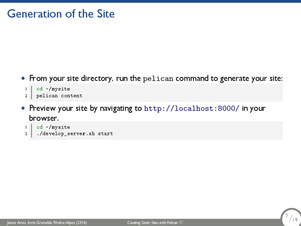 Generation of the Site • From your site directo...