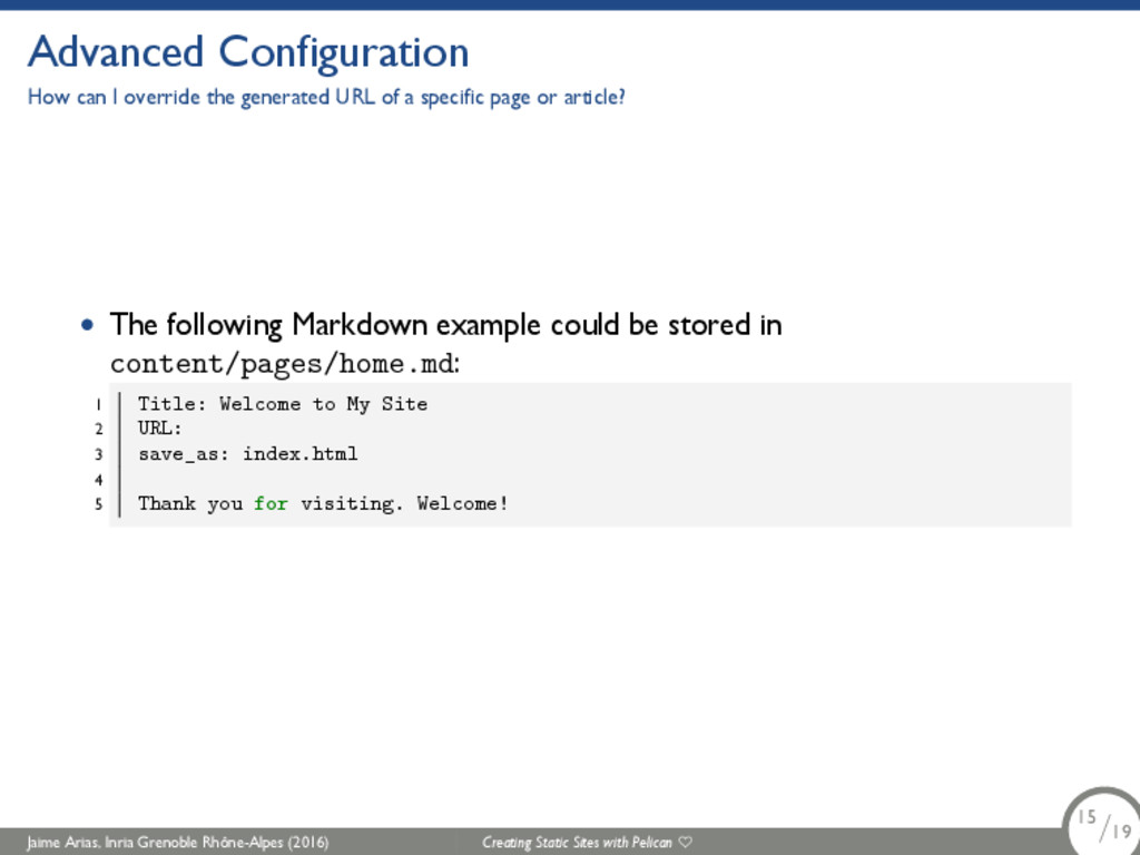 Advanced Configuration How can I override the g...
