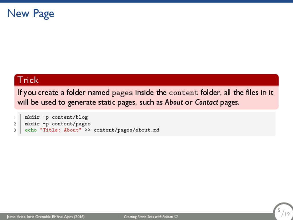 New Page Trick If you create a folder named pag...