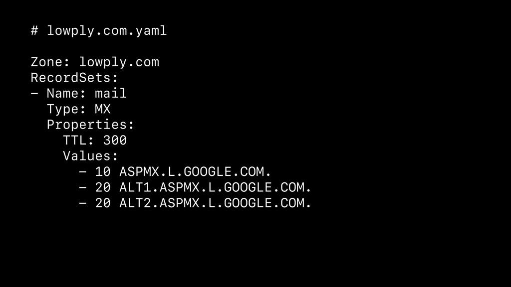 # lowply.com.yaml Zone: lowply.com RecordSets: ...