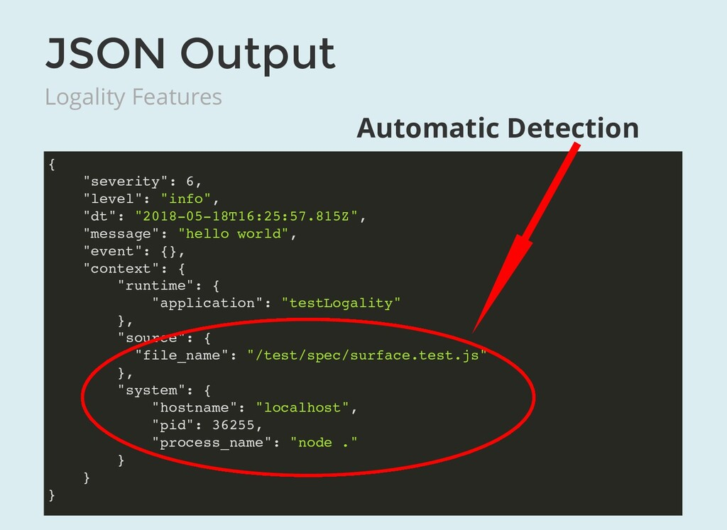 """JSON Output Logality Features { """"severity"""": 6, ..."""