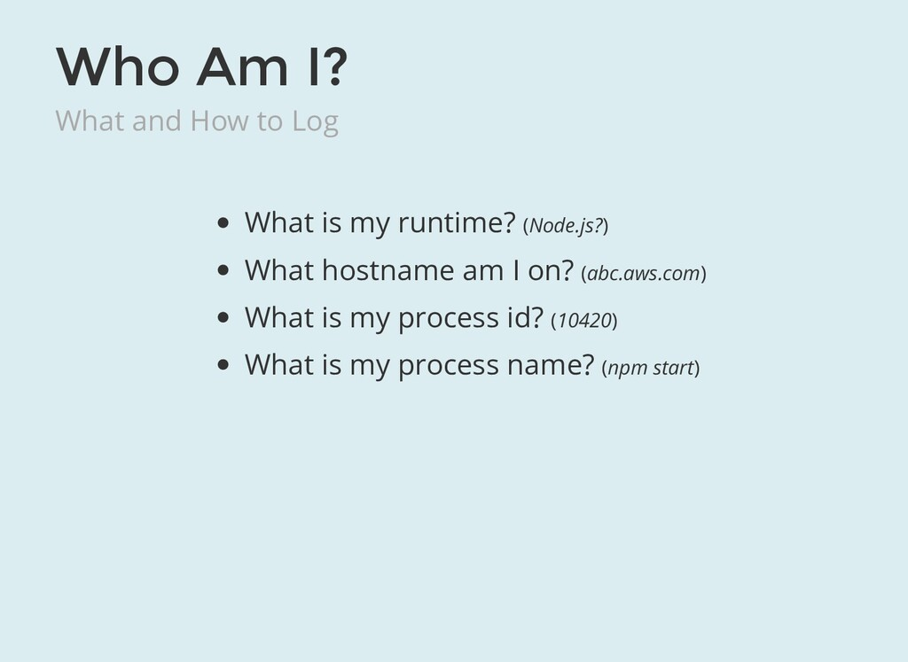 Who Am I? What and How to Log What is my runtim...