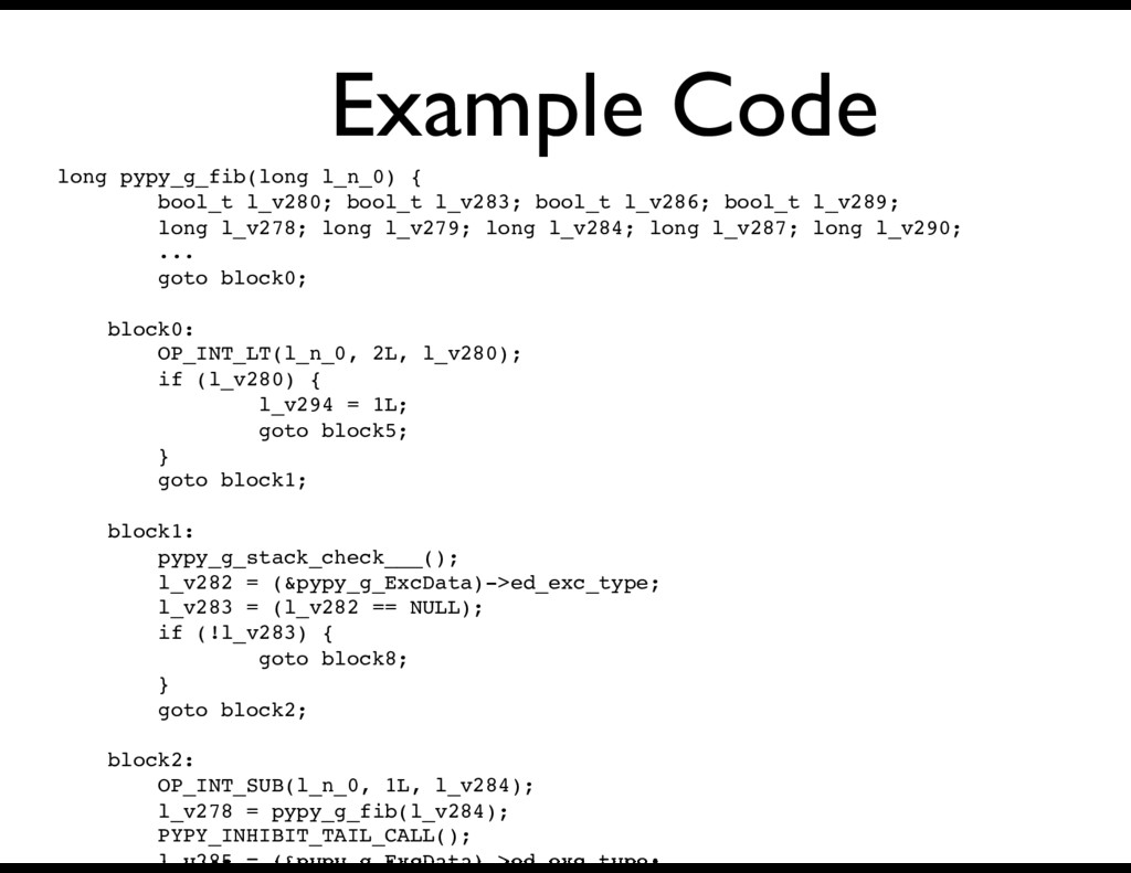 Example Code long pypy_g_fib(long l_n_0) { bool...