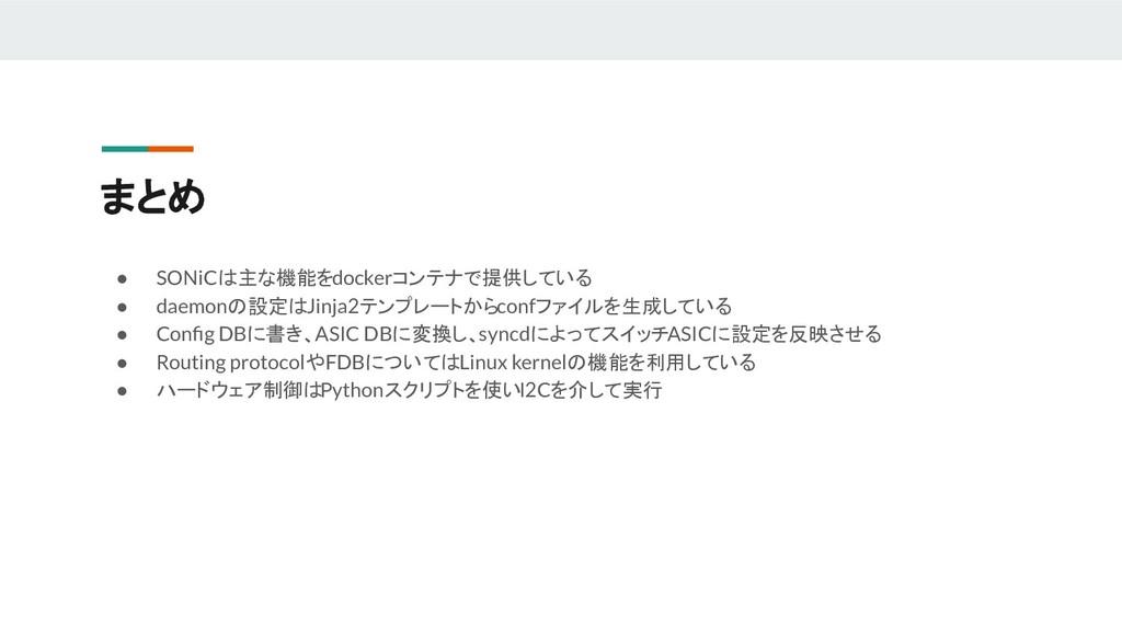 まとめ ● SONiCは主な機能をdockerコンテナで提供している ● daemonの設定は...