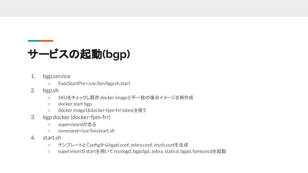 サービスの起動(bgp) 1. bgp.service ○ ExecStartPre=/usr...