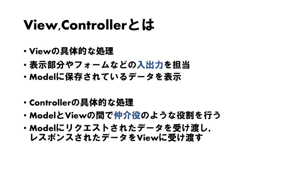 View,Controllerとは • Viewの具体的な処理 • 表示部分やフォームなどの入...