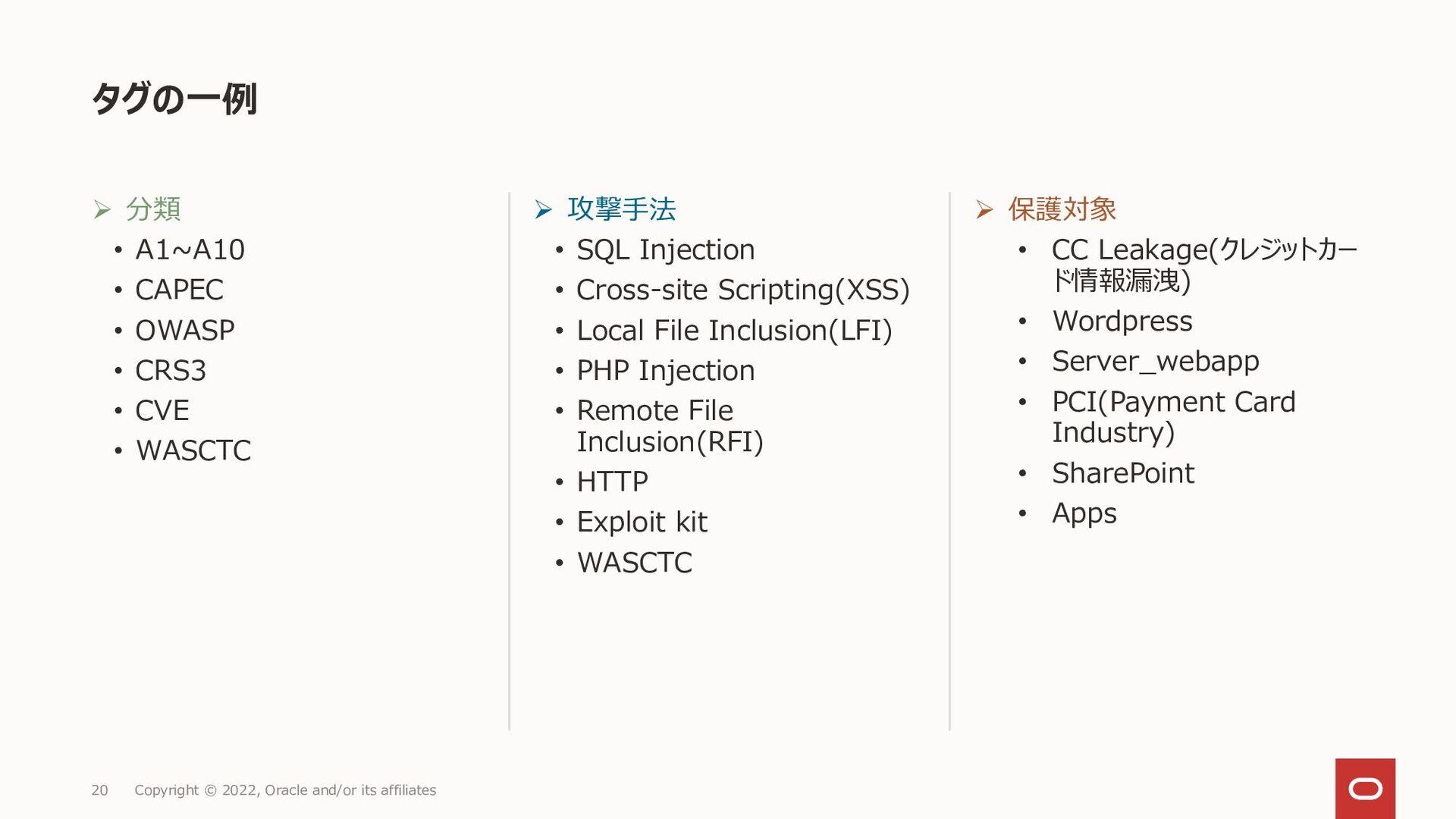 OCI WAF保護ルールReference ◼ OCI Web Application Fir...
