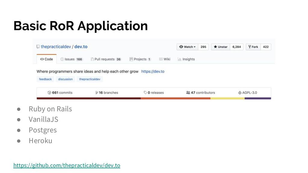 Basic RoR Application ● Ruby on Rails ● Vanilla...