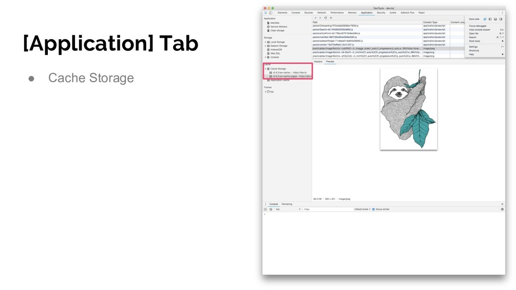 [Application] Tab ● Cache Storage