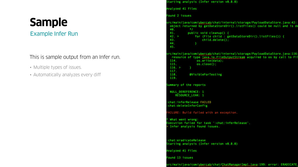 This is sample output from an Infer run. • Mult...