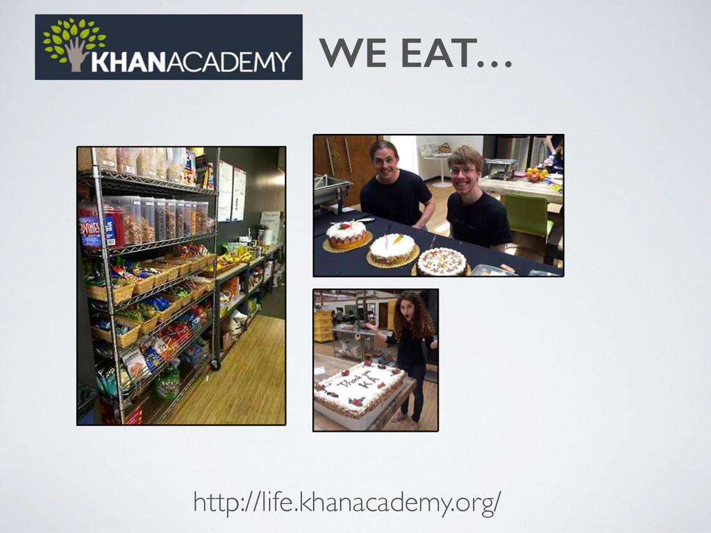 http://life.khanacademy.org/ WE EAT…