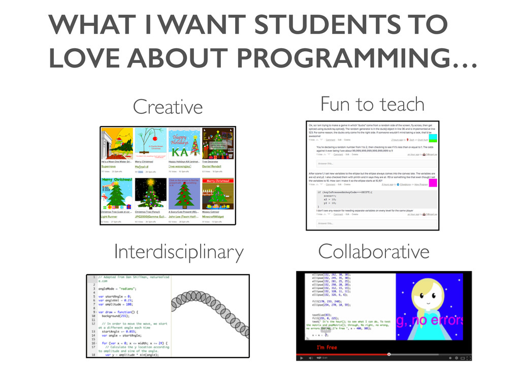WHAT I WANT STUDENTS TO LOVE ABOUT PROGRAMMING…...