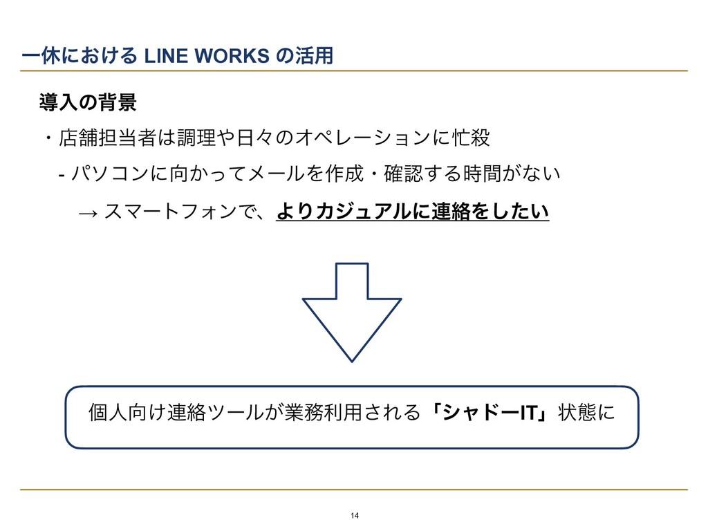 Ұٳʹ͓͚Δ LINE WORKS ͷ׆༻ ಋೖͷഎܠ   ɾళฮ୲ऀௐཧʑͷΦϖϨʔ...