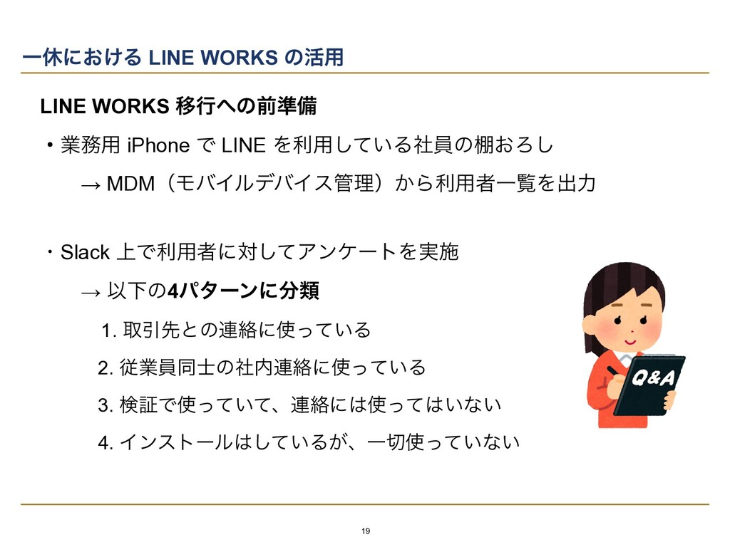 Ұٳʹ͓͚Δ LINE WORKS ͷ׆༻ LINE WORKS Ҡߦͷલ४උ   ɾۀ༻...