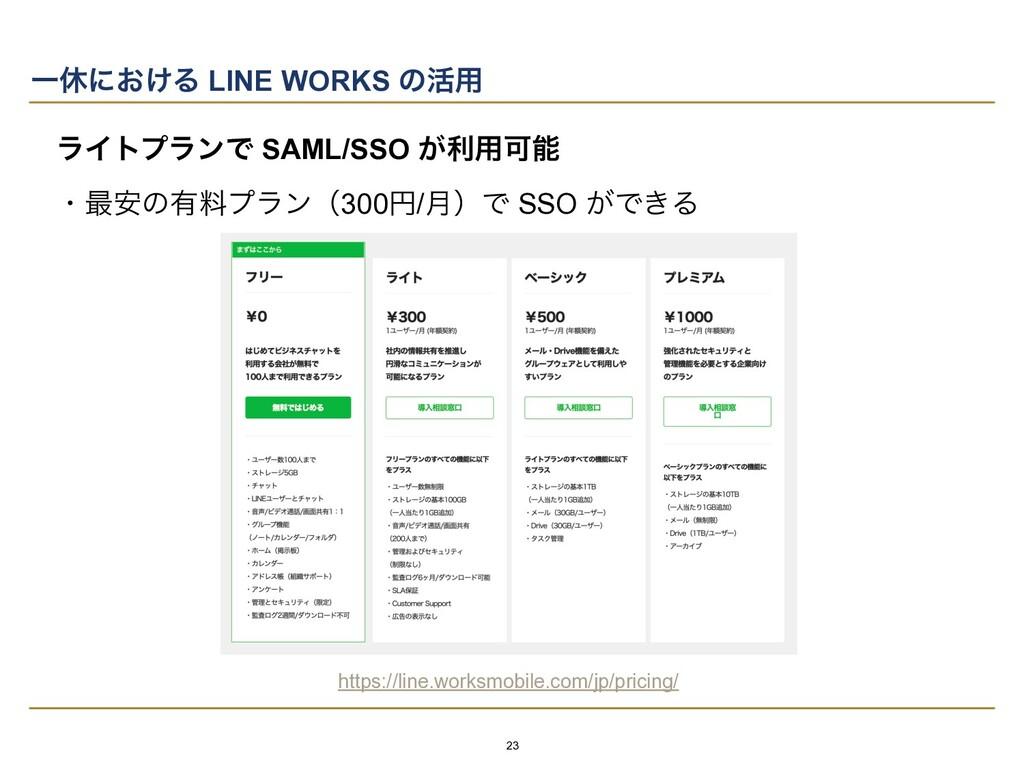 Ұٳʹ͓͚Δ LINE WORKS ͷ׆༻ ϥΠτϓϥϯͰ SAML/SSO ͕ར༻Մ   ...