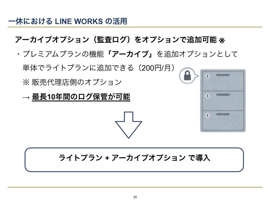 Ұٳʹ͓͚Δ LINE WORKS ͷ׆༻ ΞʔΧΠϒΦϓγϣϯʢࠪϩάʣΛΦϓγϣϯͰՃ...